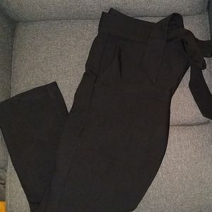 Black LOFT trousers with tie belt